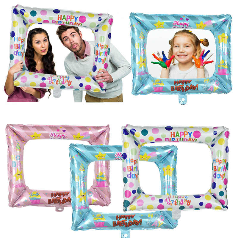 Happy Birthday Foil Balloon Photo Frame For Baby Shower Birthday Photo Props Kids Favor Photo Booth Family Party Deco Supplies