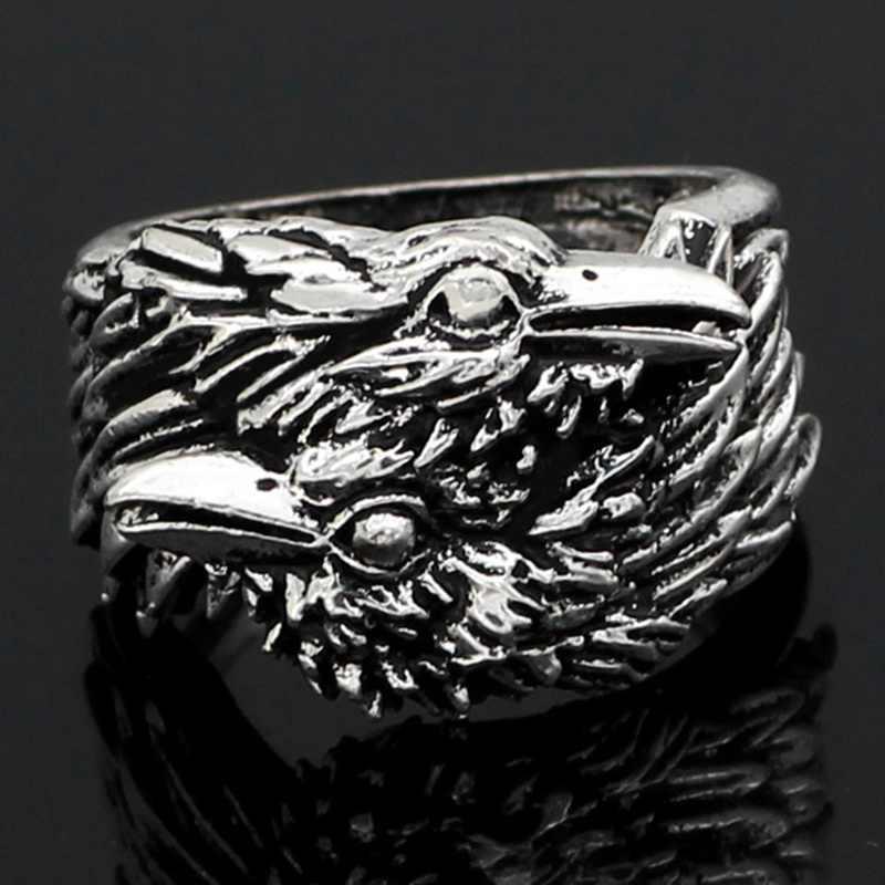 バイキング男性 2 絡めレイブンズリング北欧神話、色オーディンカラスステンレス鋼リング北欧アミュレットジュエリー