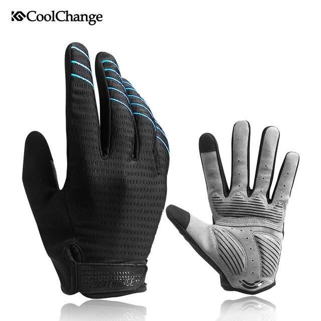 CoolChange wiatroszczelne rękawice rowerowe Full Finger sportowe rękawice na rower górski ekran dotykowy zimowe jesienne rękawice rowerowe mężczyzna kobieta