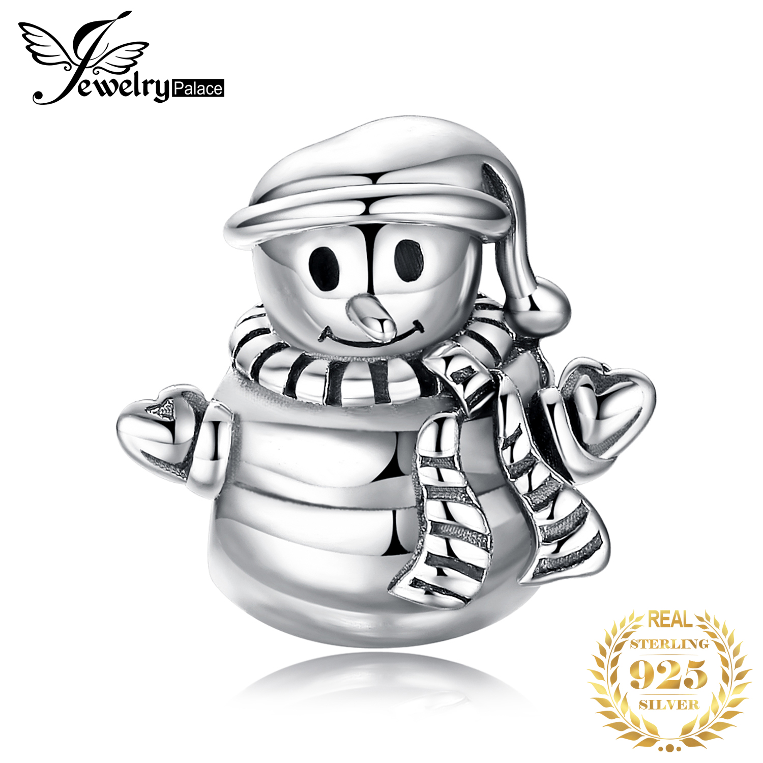 JewelryPalace Snowman 925 Sterling Silver Beads Charms Silver 925 Original For Bracelet Silver 925 Original Beads Jewelry Making