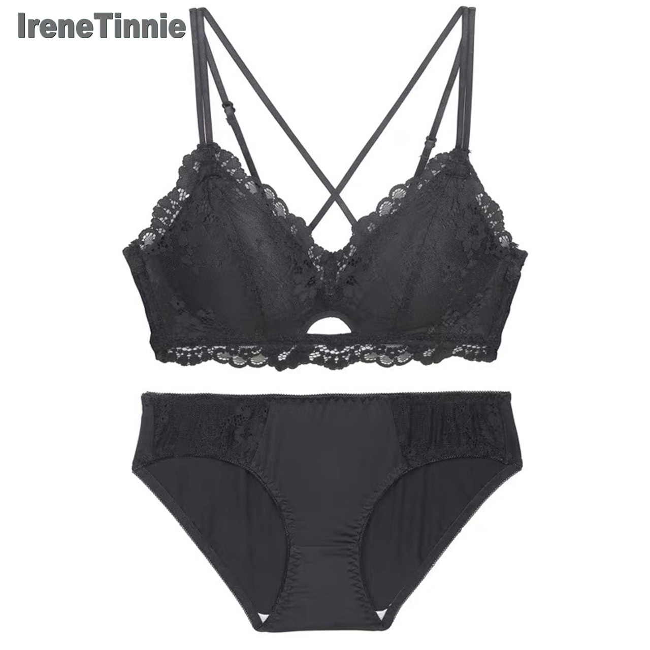 IRENE TINNIE Women's Sexy Lace Romantic Seduction Charming Lingerie Young Push Up No Steel Rib Hollowout Natural Fresh Bra Set
