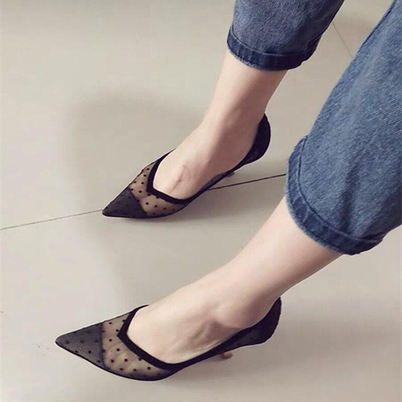 Mode maille talons hauts femmes chaussures femme été nouvelle dentelle métal stiletto peu profonde V bouche chaussures pointues offre spéciale pompes pour femmes - 3
