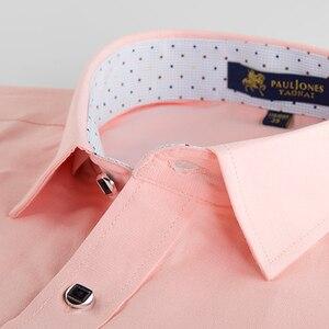 Image 2 - גברים רגילה fit של ארוך שרוול מוצק פשתן חולצה אחת תיקון כיס כיכר צווארון פנימי מנוקדת מזדמן כפתור עד דק חולצות