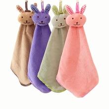 Toalla colgante toallero de baño y cocina de fibra fina de doble cara conejo lindo Toalla de terciopelo Coral