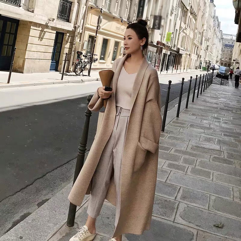 2020 Spring Women's Coats Solid Color  Turn-Down Collar Long Cardigans For Women Fashion Streetwear Sweater With Pockets