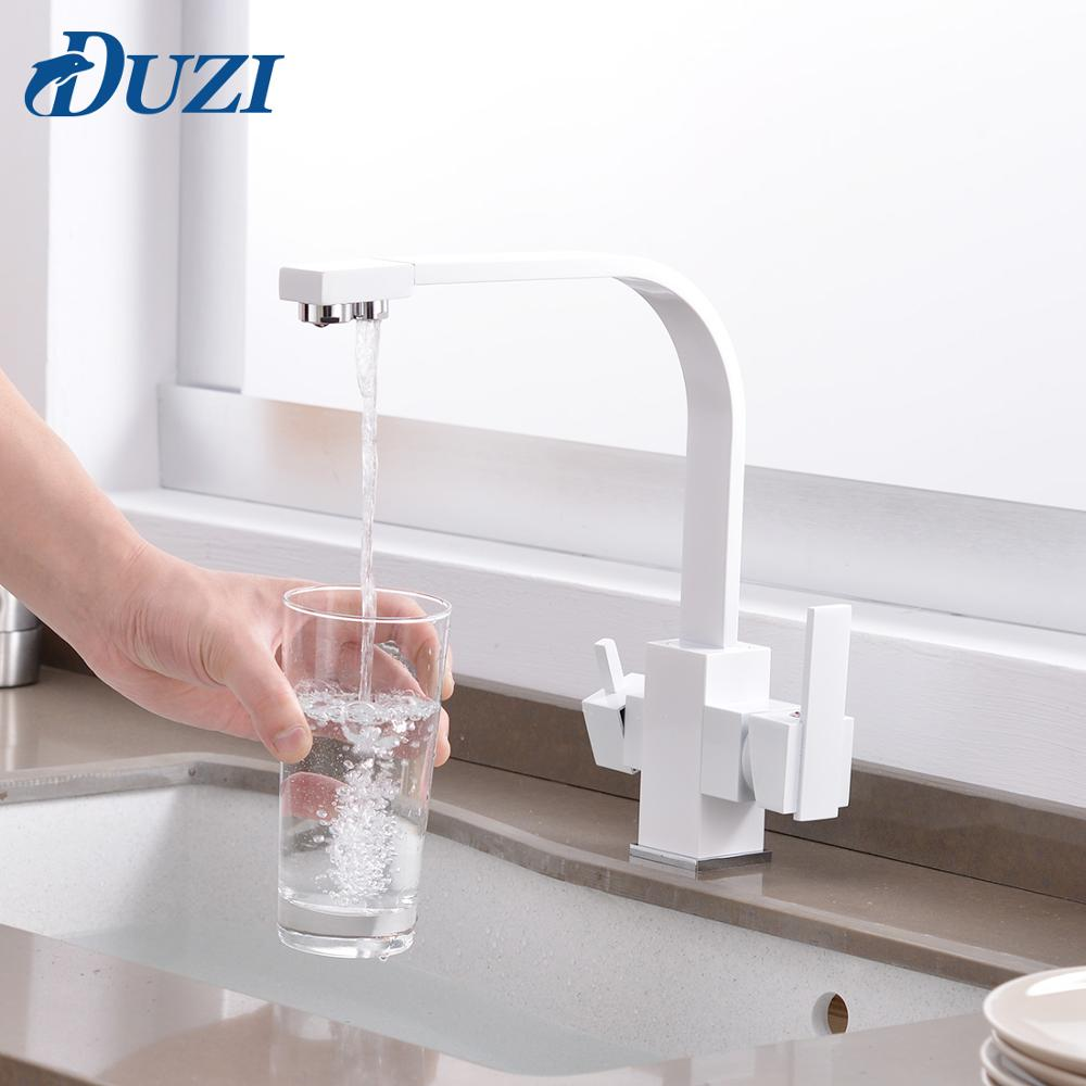 Kitchen Mixer With Filtered Water Marble For Sinks Taps Solid Brass Kitchen Faucet Cold And Hot Swivel Drinking Water Faucet