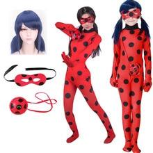 Girls Disguise Ladybug Costume Lady Bug Cosplay Halloween Elastic Birthday Jumpsuits Anime Clothing Wholesale