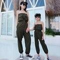 2020 nova mãe filha fora do ombro macacão família combinando roupas armygreen calças menina sexy primavera roupas