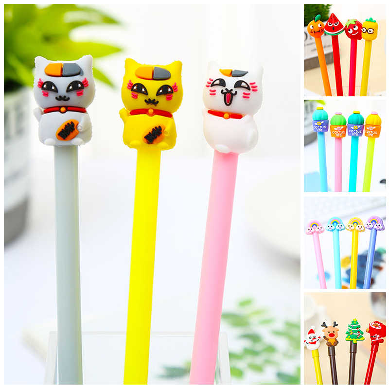 Koreaanse Cool Kawaii Leuke Cactus Kat Gel Pennen Regenboog Fruit Cartoon Anime Kawai Kerstcadeau School Kantoor Accessoire Briefpapier
