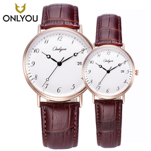ONLYOU 2PCS Women and men Watches Leather Strap Casual Quartz Sports Watch Lovers 81120