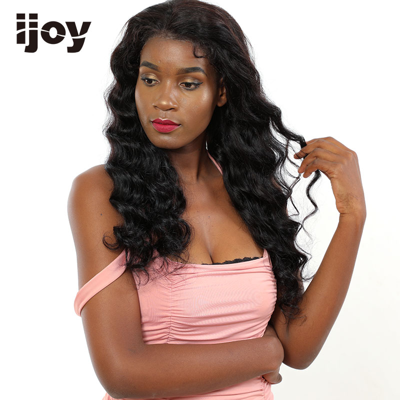 "Deep Wave Wig Human Hair Wigs 4x13 Lace Front Curly Wig Brazilian Hair Non-Remy Wigs Natural Black 12""-22"" Real Length Wig IJOY"