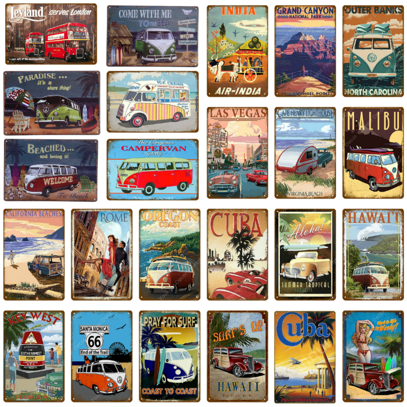 Travel City Hawaii Cuba India Beach Metal Plate Bus Car Campervan Vintage Tin Signs Pub Bar Garage Home Decoration Metal Poster image