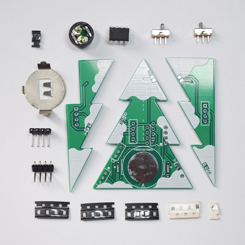 3D Mini PCB Stereo Christmas Tree DIY Music Kit Circuit Electronic DIY Kits Gift A5YD