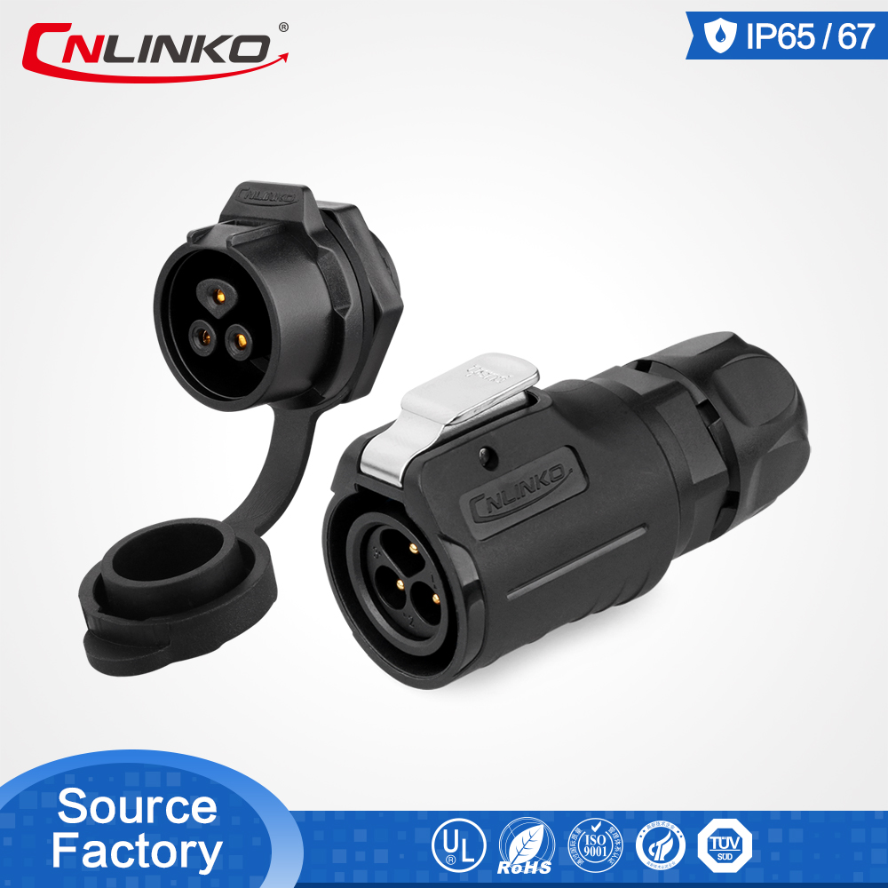 CNLinko M16 3 Pin Connector Manufacture Supply 10A 3 Pin IP67 Power Connector With Dust Cover