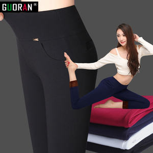 Image 5 - 2018 winter warm Women Pencil Pants Candy Color High elasticity Female Skinny pants female trousers Leggings Plus size S 6XL