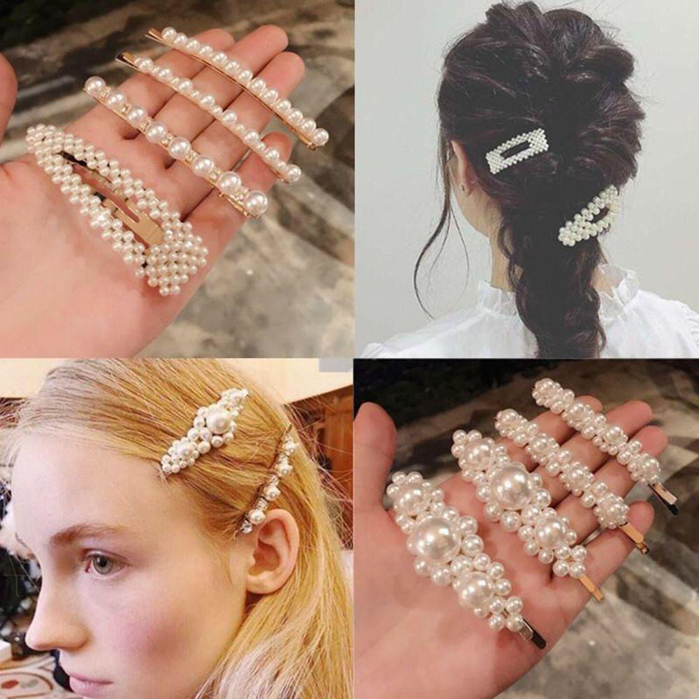 Women Pearl Hair Clips Girls Elegant Korean Style Heart-shaped Snap Barrette New