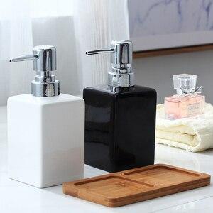 Image 2 - 320ml Ceramic Emulsion Dispenser White Black Bottle Hotel Shower Gel Hand Sanitizer Bottle with Bamboo Tray for Kitchen