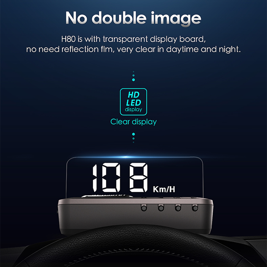 OBDII Smart Mirror HUD display obd2 Gauge Projector Overspeed Alarm Voltage Water temperature Monitor