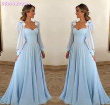 Женское шифоновое вечернее платье голубое с длинным рукавом