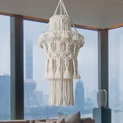 1 pieza de pantalla tejida a mano macramé lámpara colgante decoración de la sala de estar boda decoración borla pantalla tapiz