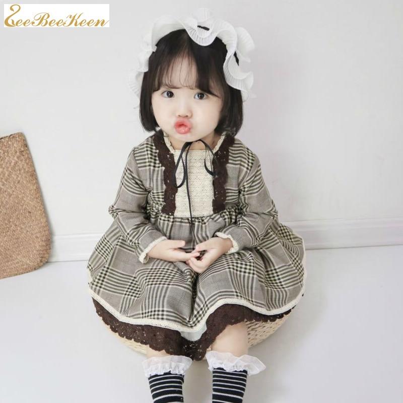 Girls Lolita Dress Children spring autumn Long Sleeve Cotton Plaid dress Child Sweet Court Princess dress Baby lolita lace dress