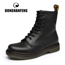 DONGNANFENG Women's Ladies Famale Genuine Leather Shoes Ankle Boots Plush Lace Up Riding Equestr Botas Mujer Plus Size YDL-666-2(China)