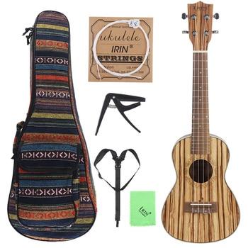 24 Inch Portable Concert Ukulele Zebra Wood 18 Fret Four Strings Hawaii Guitar + Bag + Capo + Strap + Strings + Cloth