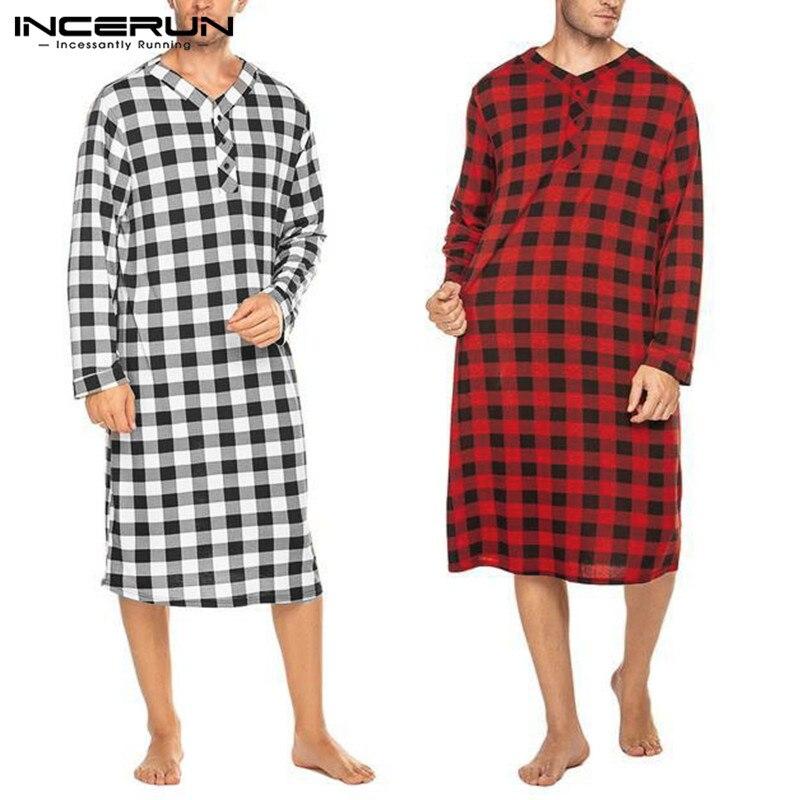 Fashion Plaid Men's Sleep Robes Homewear Soft Loose Long Sleeve V Neck Button Long Pajamas Leisure Men Nightgowns S-5XL INCERUN