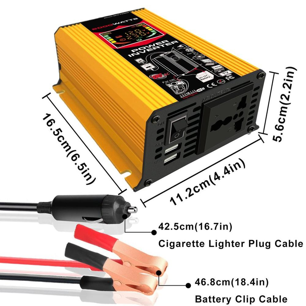 6000W 12V zu 220 V/110 V Smart Display Auto Power Inverter Konverter Adapter Dual USB Spannung transformator Modifizierte Sinus Welle