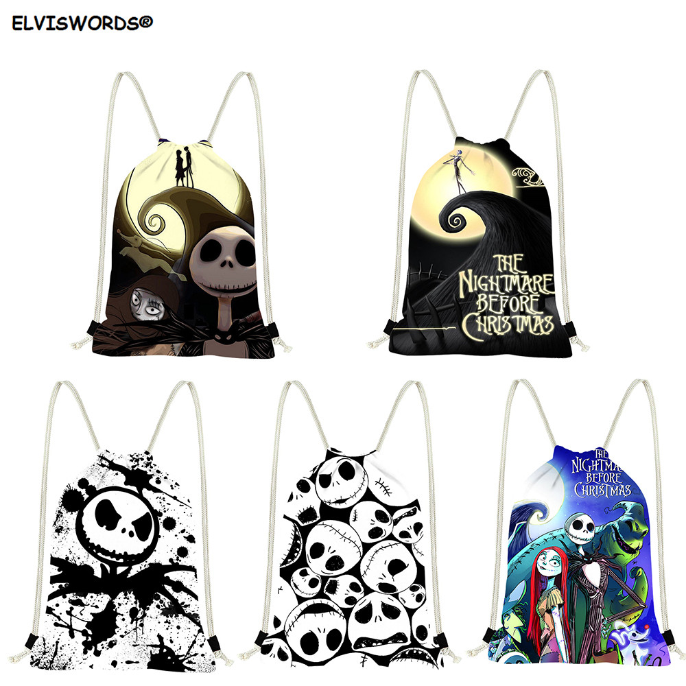 ELVISWORDS Nightmare Before Christmas Printed Bags Customize Logo Drawstring Backparks Travel Bag Shopping Bag Gift For Teenage