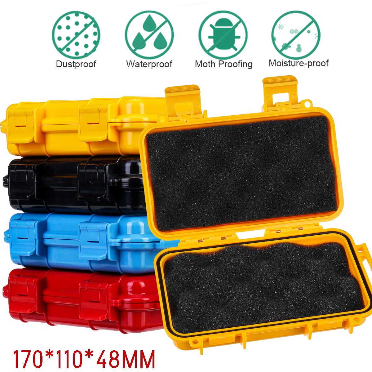2 Size Outdoor Shockproof Waterproof Boxes Survival Airtight Case Holder Storage Matches Tools Travel Sealed Containers 4 Colors