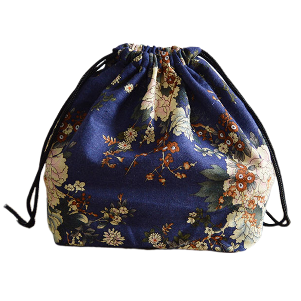 Pouch Japanese Style Lunch Bag Storage Travel School Picnic Portable Box Students Bento Drawstring Printed Cotton Linen