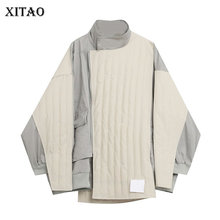Coat Patchwork XITAO Parkas Casual-Style Striped Winter Fashion Women New Full GCC4248