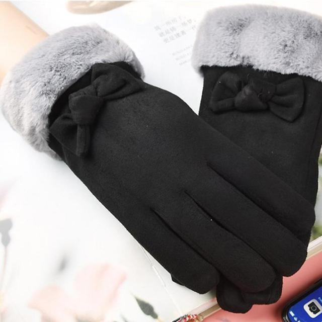 Gloves Female Autumn And Winter Warm Gloves Thick Velvet Touch Screen Bike Gloves Suede Cute Bow Gloves 2