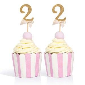 10 шт., золотые блестки с цифрой кексы, подарки, выбор, 2 дня рождения, для детей 2 лет