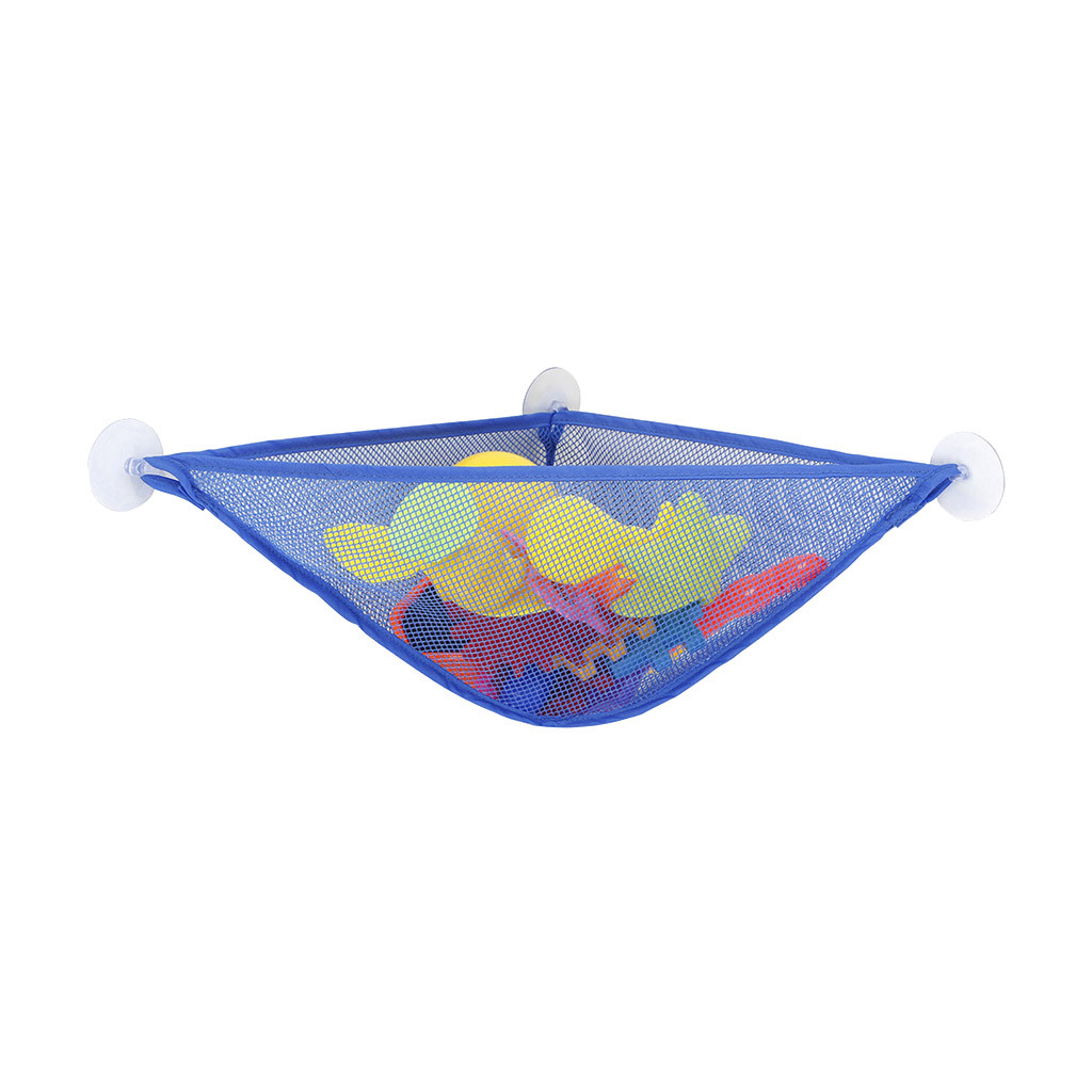 Baby Kids Bath Toy Organizer Hanging Triangle Bag With 3 Strong Hooked Suction Cups Mold Resistant Mesh Net Basket