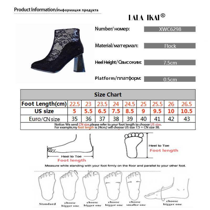 LALA IKAI 2019 Enkellaars Vrouwen Sexy Strass Hoge Hakken Puntschoen Pompen Vrouwelijke Winter Fleece Warm zapatillas mujer C6298-4