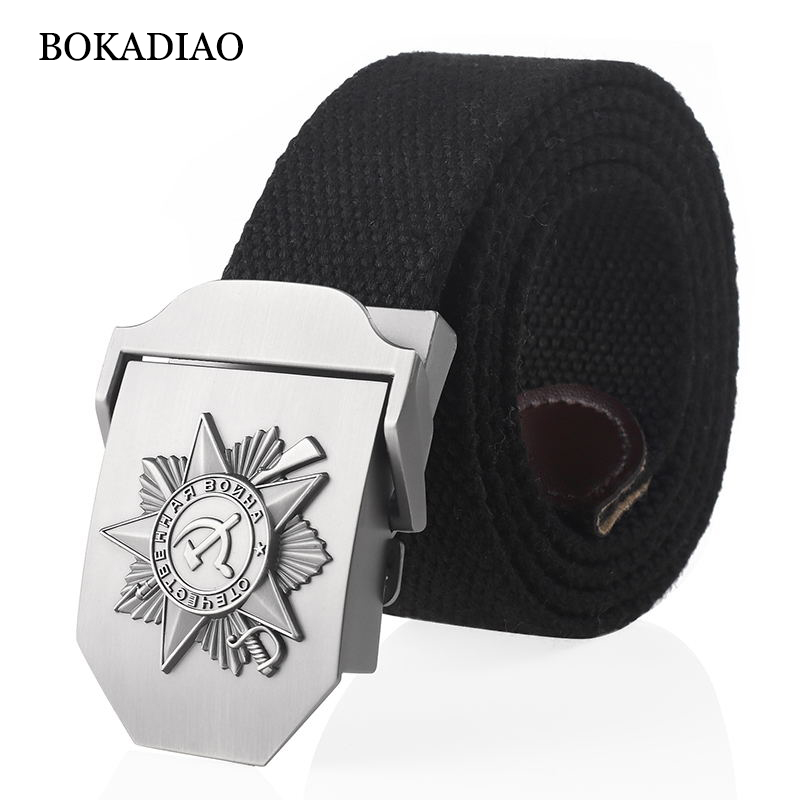 BOKADIAO Men&Women Canvas Belt 3D Soviet Great Patriotic War Memorial Medal Metal Buckle CCCP Army Tactical Belts Military Strap