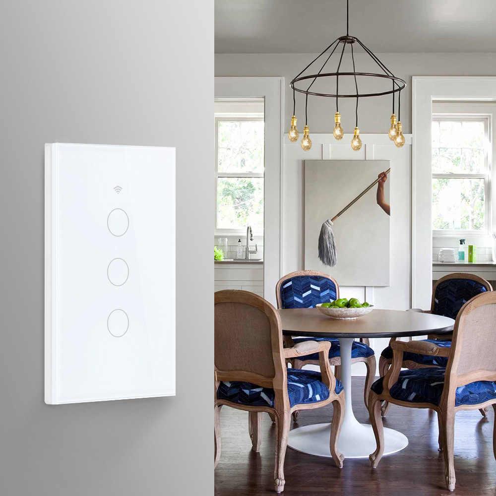 Wifi Smart Licht Schalter Glas Bildschirm Touch Panel Voice Control Wireless Wand Schalter Fernbedienung mit Alexa Google Home 1/2/3/4 Gang