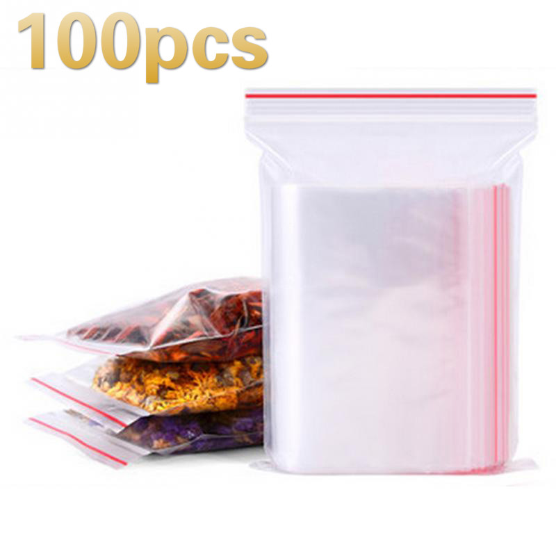 100pcs Zip Lock Ziplock Bags Clear Food Storage Package Small Jewelry Packing Reclosable Vacuum Storage Bag Thick Fresh bag NEW