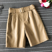 Womens Brand new high quality real leather wide-leg pants Chic belat Fifth 100% genuine B004