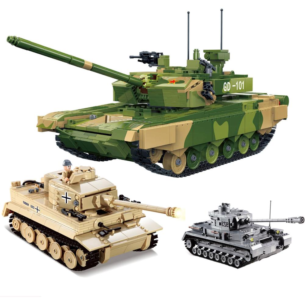 KZ KY82011 German King Tiger Tank Building Blocks Sets Military WW2 Army Soldiers DIY Bricks Toys