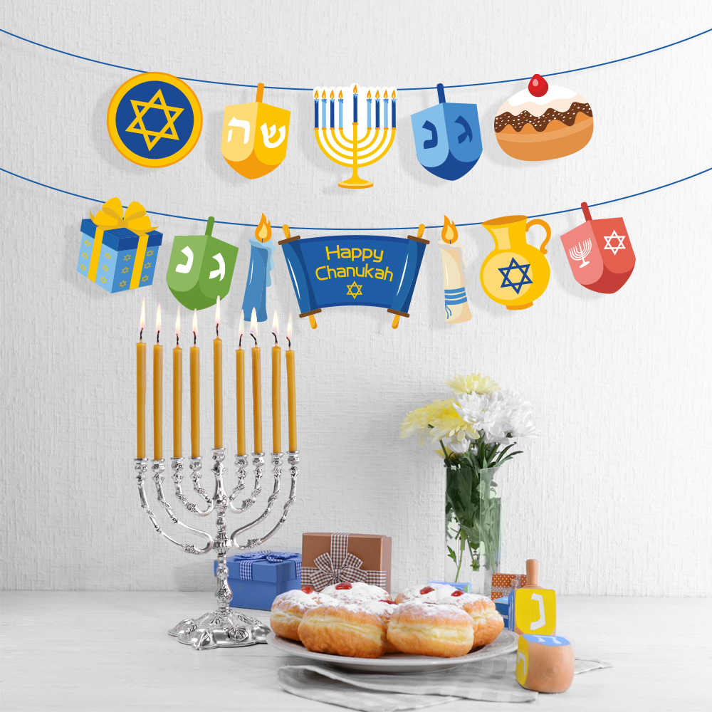 Chanukah Party Favors Decorations Happy Hanukkah Party Wall Hanging Bunting Banners Hanukkah Party Supplies