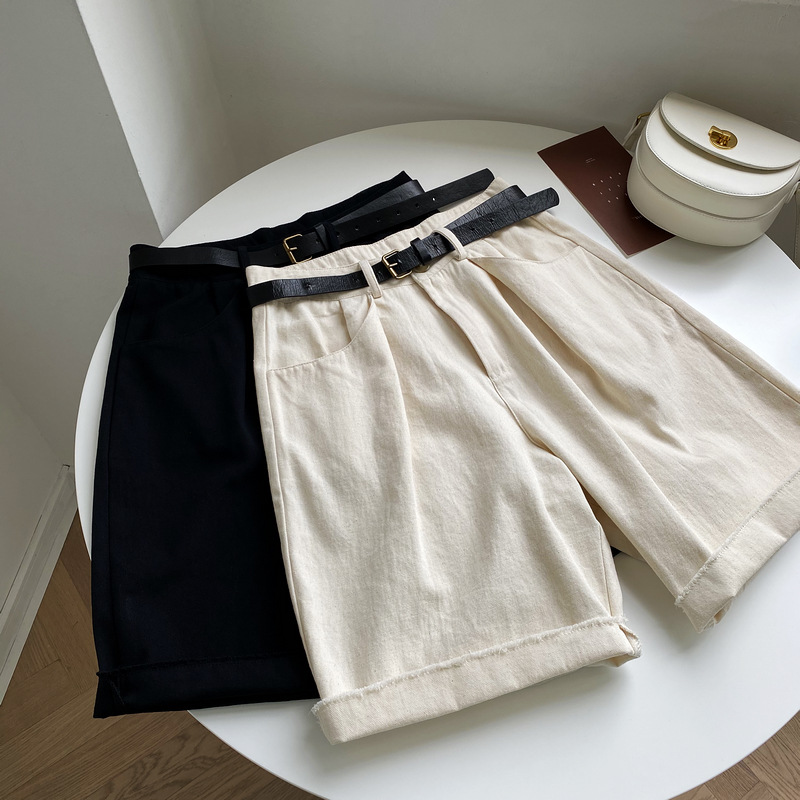 Casual Wide Leg Shorts With Belt 2020 Casual Loose Straight Women Hotpants