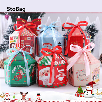 StoBag 10pcs Christmas Packing Gift Boxes With Hanlde Decorative For Baby Birthday Wedding Packaging Party Supplies Boxes
