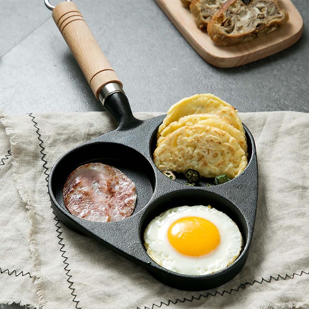 Cast Iron 3 Holes Omelette Pot Kitchen Omelette Artifact Mold Egg Dumpling Pot Non-Stick Small Frying Pan With Beech Handle
