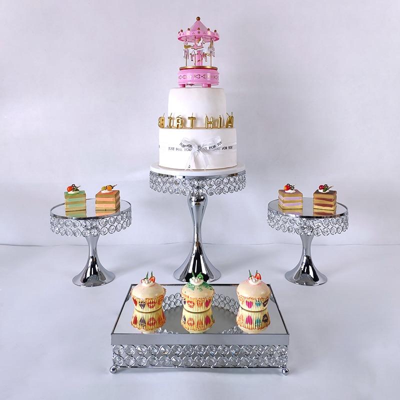 4 6 or argent haute qualité gâteau support ensemble or cristal métal Cupcake décorations Dessert piédestal fête mariage gâteau support - 2