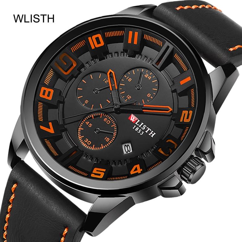 business casual fashion design sports model calendar leather strap band belt three dials decoration quartz mens wrist watch