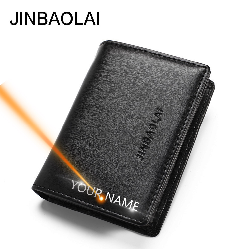 2020 Men Wallets Name Engraving PU Leather MINI Short Casual Male Purses Vintage High Quality Brand Men Wallets Carteria