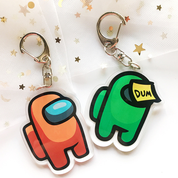 1pcs Hot Games Among Us Keychain Acrylic Colourful Gift Keychains for Car Keys Decoration Accessories 2